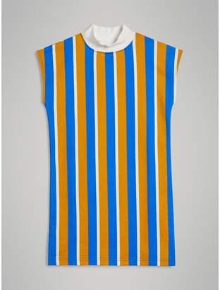 Burberry Striped Cotton Turtleneck Dress , Size: 8Y, Yellow