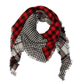 David & Young Women's Multi-Plaid and Houndstooth Print Triangle Scarf