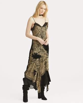 Ralph Lauren Velvet-Trim Floral Slip Dress