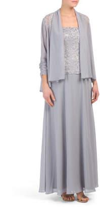 2pc Beaded Chiffon Long Skirt Set