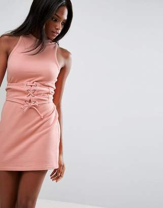 Asos Sleeveless Corset Mini Dress with Cut Out Back