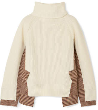 Sacai Knitted Wool And Checked Tweed Turtleneck Sweater - Off-white
