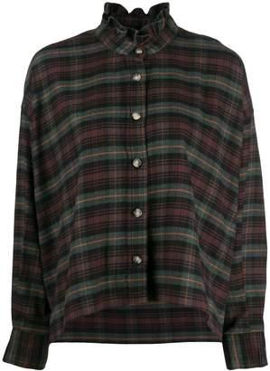 Etoile Isabel Marant ruffle neck plaid shirt