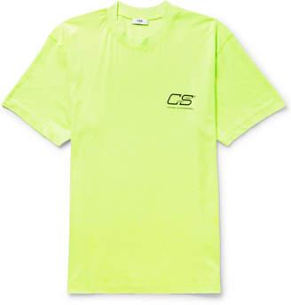 Cmmn Swdn Ridley Logo-Print Neon Cotton-Jersey T-Shirt
