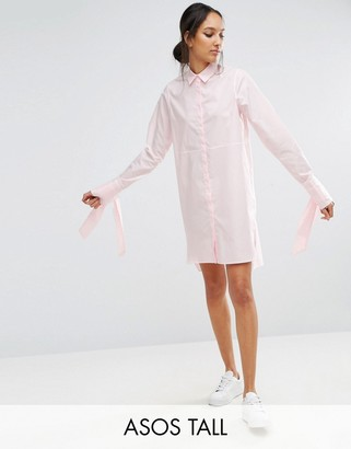 ASOS Tall ASOS TALL Cotton Shirt Dress with Oversized Cuff & Bow Detail $58 thestylecure.com