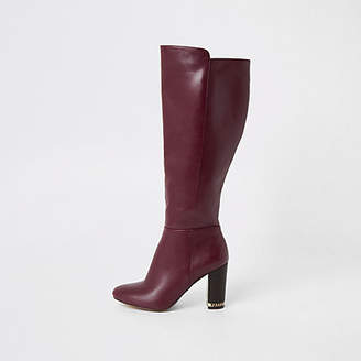 River Island Purple knee high chain heeled boots