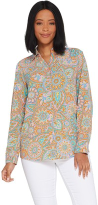 Denim & Co. Stretch Woven Button Front Printed Long- Sleeve Shirt