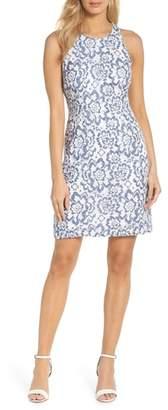 Adrianna Papell Elisa Two Tone Lace Sheath Dress