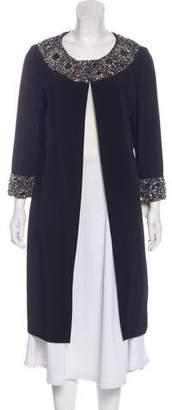 Marchesa Embellished Knee-Length Coat