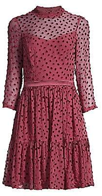 Rebecca Taylor Women's Velvet Polka Dot Silk-Chiffon Long-Sleeve A-Line Dress - Size 0