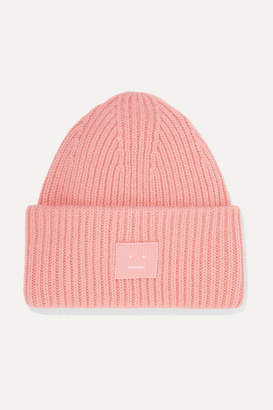 Acne Studios Pansy Face Appliquéd Ribbed Wool Beanie - Pink
