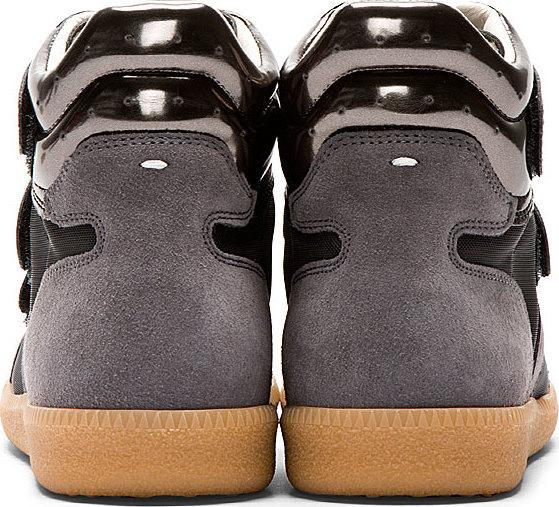 Maison Martin Margiela Grey Metallic Trim High-Top Sneakers