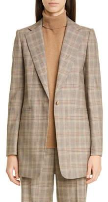 Lafayette 148 New York Beau Plaid Stretch Wool Blazer