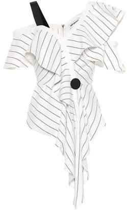 Self-Portrait Striped asymmetric top