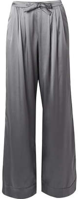 I.D. Sarrieri Kyoto Nights Pleated Stretch-silk Satin Pajama Pants - Anthracite