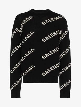 Balenciaga All over Logo crewneck jumper