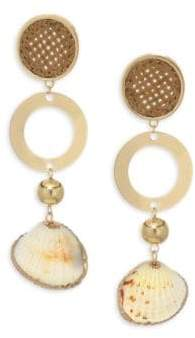 Ettika Shell& 18K Goldplated Ring Statement Earrings