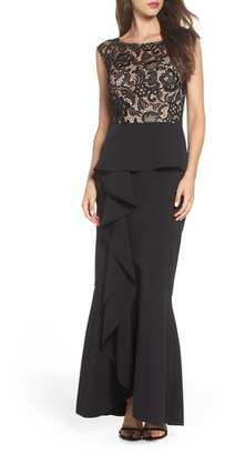 Alex Evenings Ruffle Front Trumpet Gown
