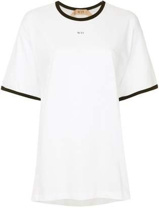 No.21 contrast trim T-shirt