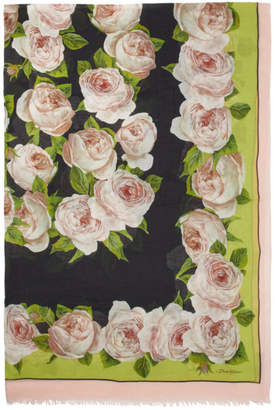 Dolce & Gabbana Black and Pink Silk Roses Shawl