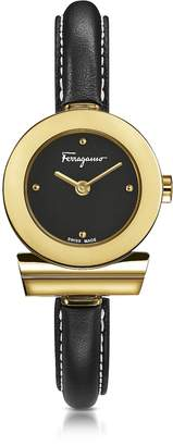 Salvatore Ferragamo Gancino Gold IP Stainless Steel and Black Leather Strap Women's Watch