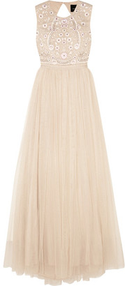 Needle & Thread - Prairie Open-back Embellished Chiffon And Tulle Gown - Neutral $390 thestylecure.com