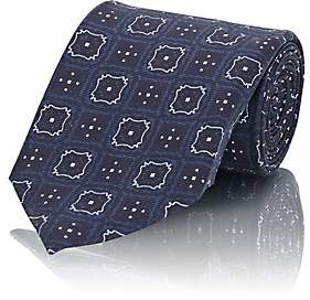 Fairfax MEN'S MEDALLION-PRINT SILK TWILL NECKTIE-NAVY