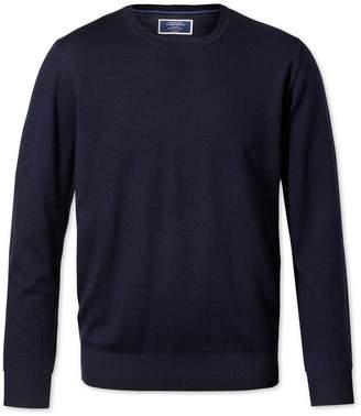 Charles Tyrwhitt Navy Merino Wool Crew Neck Sweater Size Medium