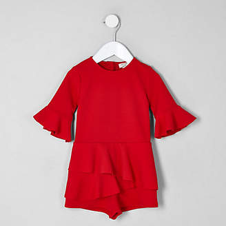 River Island Mini girls red frill long sleeve romper