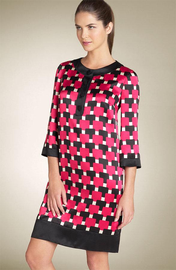 Maggy London Button Front Silk Dress