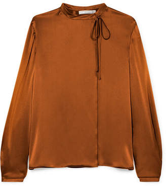 Vince Tie-neck Silk-satin Blouse - Copper