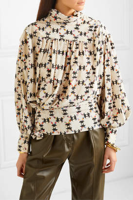 Isabel Marant Brandi Printed Stretch-silk Crepe De Chine Blouse - Ecru