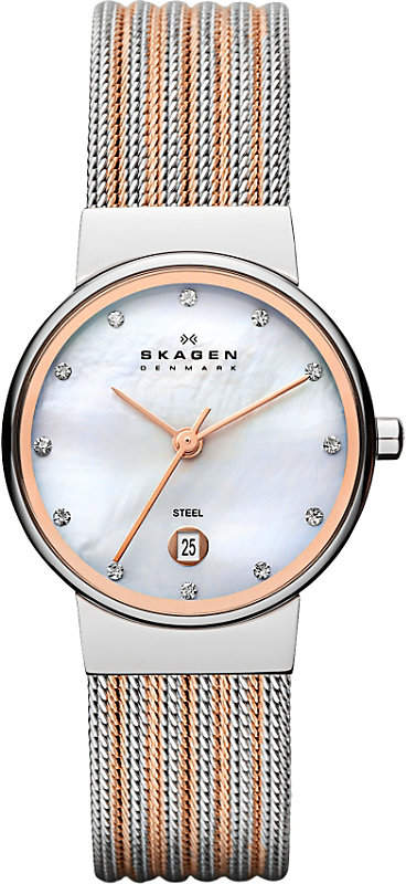 Skagen 355SSRS two-tone mesh bracelet watch
