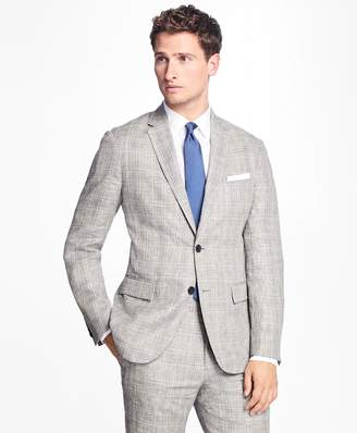 Brooks Brothers Plaid-Houndstooth Linen Sport Coat