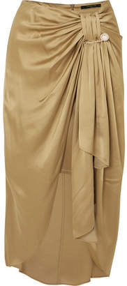 Mother of Pearl Emma Embellished Ruched Satin Midi Skirt - Gold