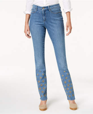 Charter Club Lexington Embroidered Straight-Leg Tummy-Control Jeans, Created for Macy's