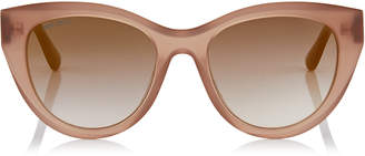 Jimmy Choo CHANA Opal Nude Cat-Eye Sunglasses with Copper Gold Chain Detailing