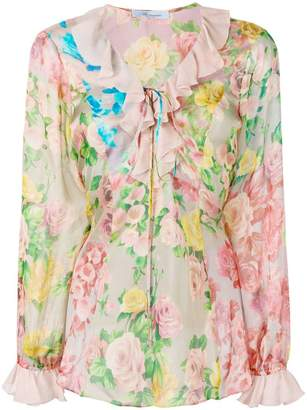 Pink floral blouse shopstyle at farfetch blumarine floral print blouse mightylinksfo