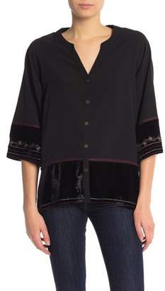 Democracy Embroidered 3\u002F4 Sleeve Button Up Top