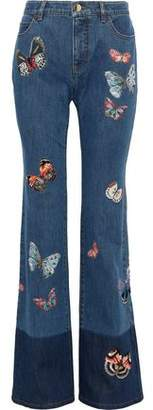Valentino Embroidered Two-tone Mid-rise Bootcut Jeans