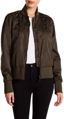 Sam Edelman Lace-Up Cropped Bomber Jacket