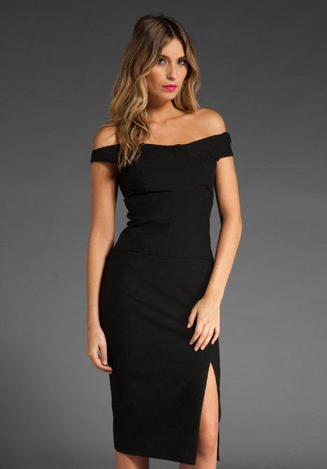 Black Halo Off Shoulder Jackie O Dress