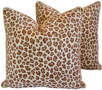 One Kings Lane Vintage Exotic Leopard Spot Velvet Pillows