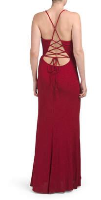 Cachet High Slit Deep V Glitter Gown