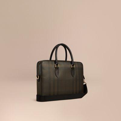 Burberry Burberry Medium Leather Trim London Check Briefcase