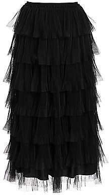 RED Valentino Women's Tiered Ruffle Midi Skirt