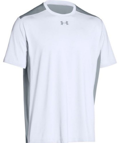 Under Armour Team Raid T-Shirt Tee Men's UA Short Sleeve Colorblock (White, LG)