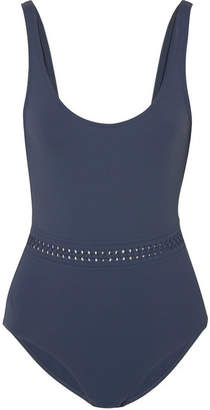 Eres Close Up Blurry Braid-trimmed Swimsuit - Midnight blue