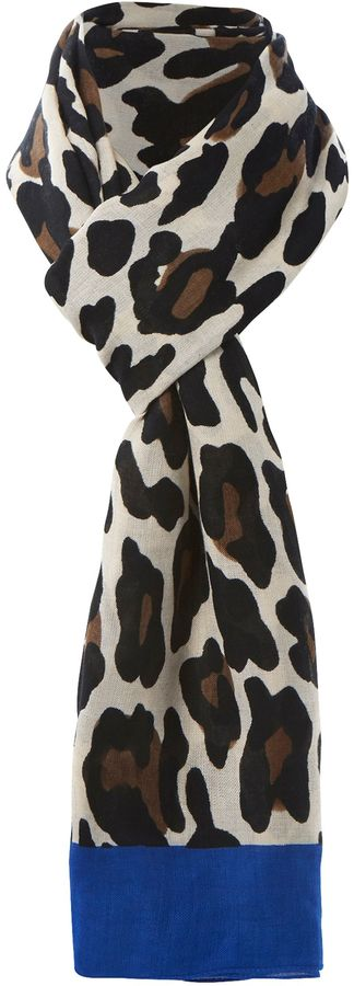 Dune Lorder coloured border leopard scarf