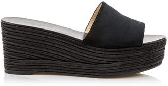 Jimmy Choo DEEDEE 80 Black Liquid Velvet Sandal Wedges with Black Jute Wedge